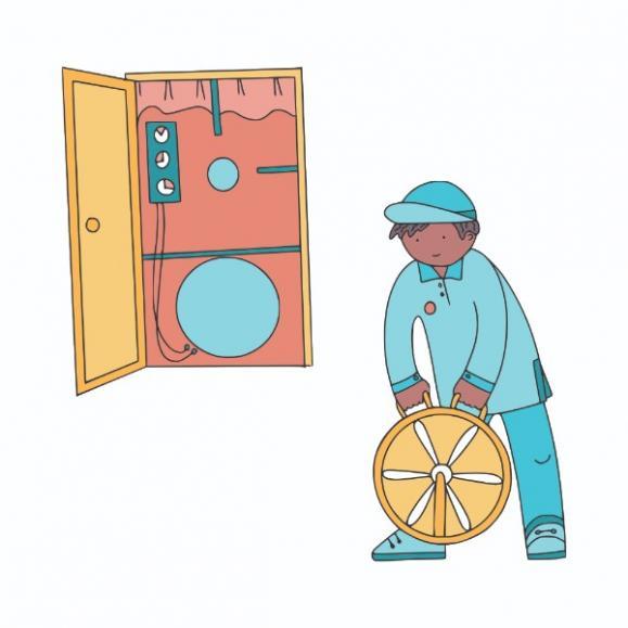 Illustration personnage réalisant le test d'étanchéité à l'air